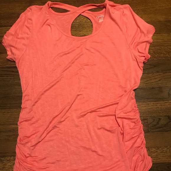a6283bd1532cc Jessica Simpson Tops | Coral Maternity Shirt With Fun Cutouts On ...